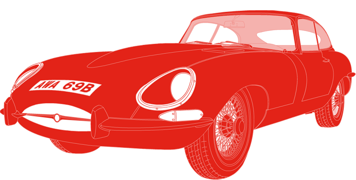 Side profile illustration of Jaguar E-Type AWA 96B