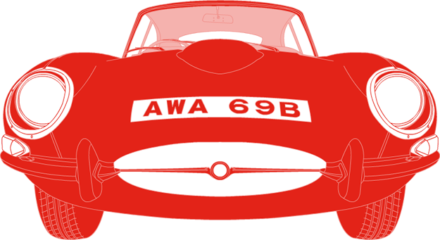 Front illustration of Jaguar E-Type AWA 96B