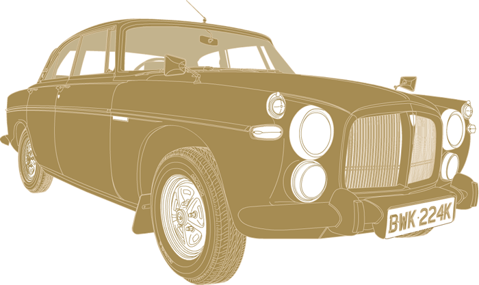 Side profile illustration of Rover P5B coupe BWK 224K