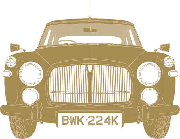 Front illustration of Rover P5B coupe BWK 224K