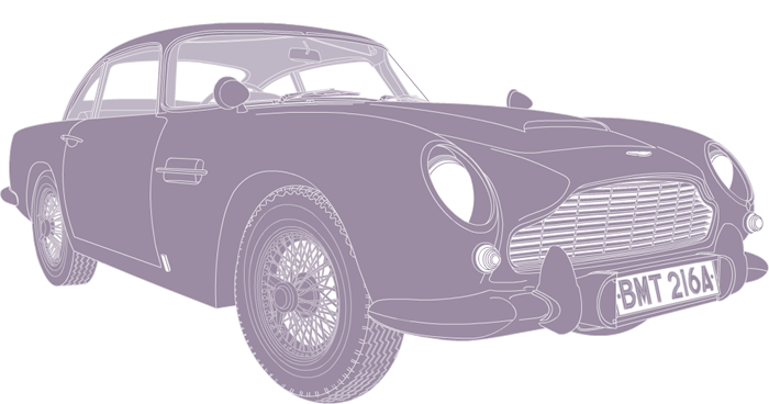 Side profile illustration of Aston Martin DB5 BMT 216A