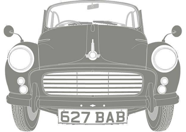 Front illustration of Morris Minor 1000 627 BAB