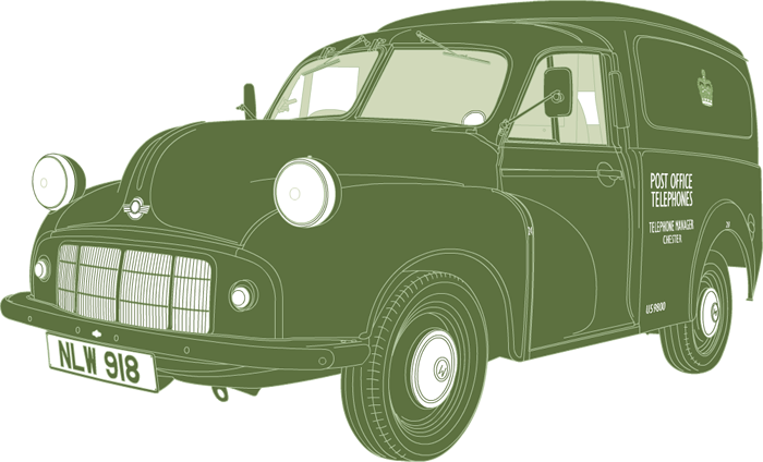 Side profile illustration of Morris Minor Series II van NLW 918