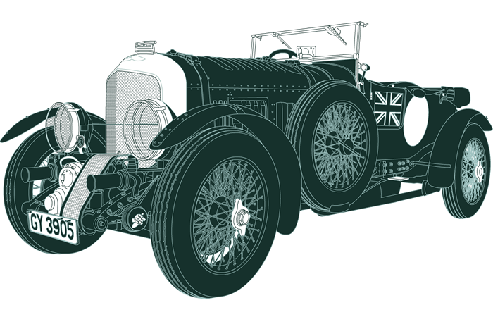 Side profile illustration of Bentley 4½ Litre Supercharged GY 3905