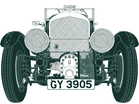 Front illustration of Bentley 4½ Litre Supercharged GY 3905