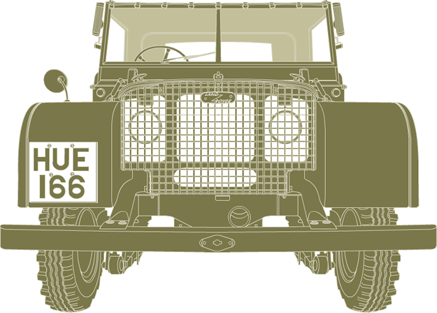 Front illustration of Land Rover Series I HUE 166