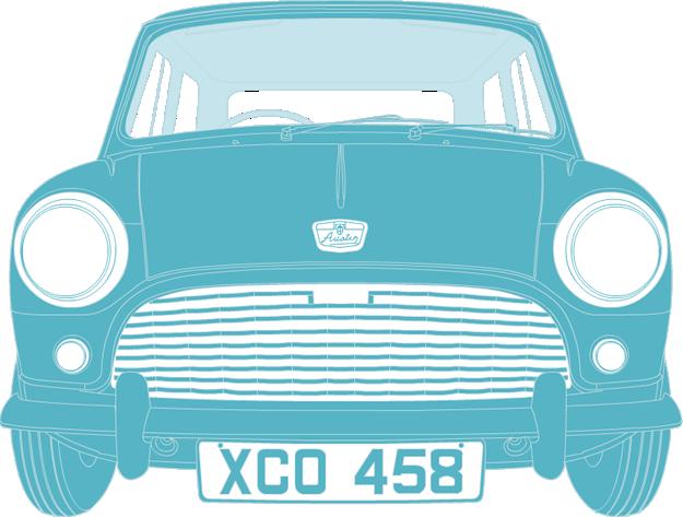 Front illustration of British Motor Corporation Mini XC0 458