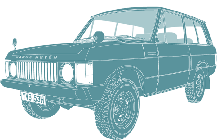 Side profile illustration of Range Rover YVB 153H