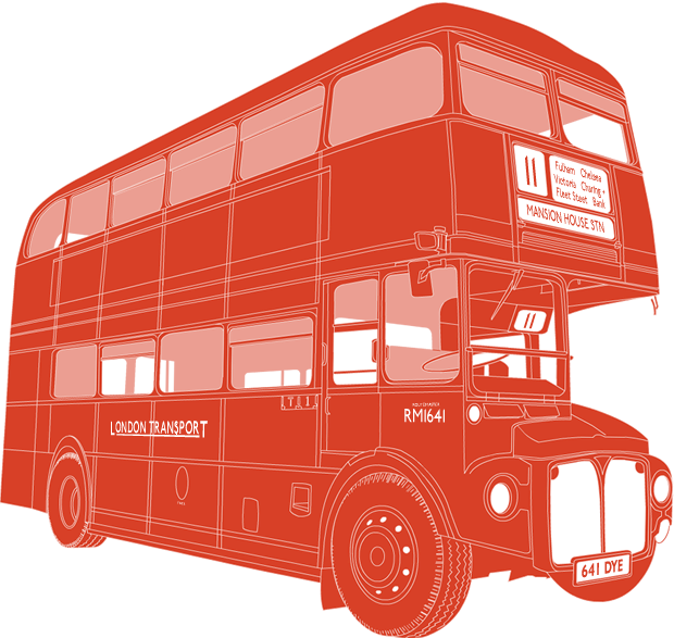 Side profile illustration of AEC Routemaster 641 DYE